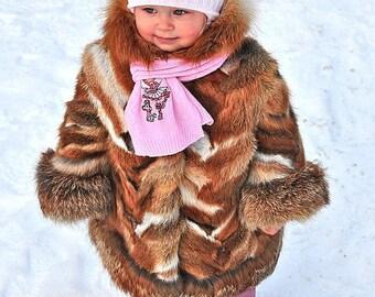 Little girl's real fox fur coat  fur coat for kids Winter coats for kids Warm fur coats Luxury gift for girl