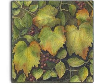 Wild grapes in Autumn colors on 2-inch ceramic tile magnets, original design home decor kitchen magnets, amber orange brown gold burgandy