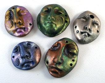 Five Celtic Forge Earthenware Shard Faces