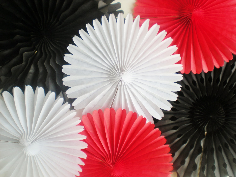 red black white paper rosettes tissue paper fans for photo