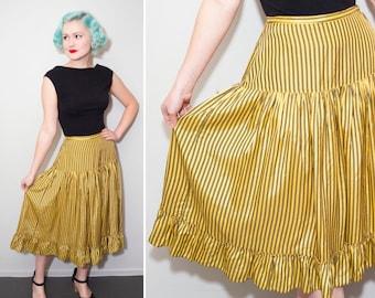 1940's Yellow and Black Striped Ruffle Skirt | Size XS