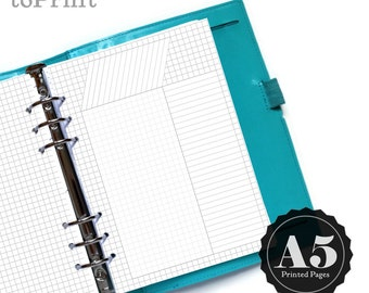 Printed Square Grid or Dot Grid Planner Inserts with Blank Grids and 3 Spreads - Bullet Journal - A5 - Index, Habit Tracker, Calendar, Graph