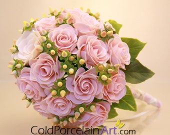 Pink Roses Bouquet - Cold Porcelain Art - Made to Order