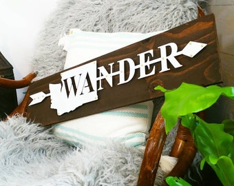 Washington State Wander wanderlust wall decor pnw