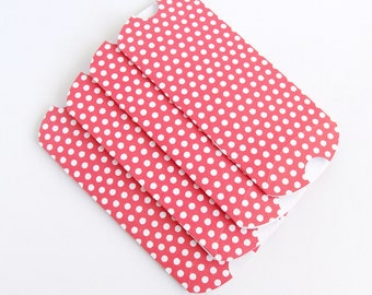 """Polka Dot Pillow Gift Box, Luxury Red Party Favour Boxes, Handmade Gift Wrap Box, Unique Jewellery Gift box, 4""""x 2.5/2"""", Flat packed"""