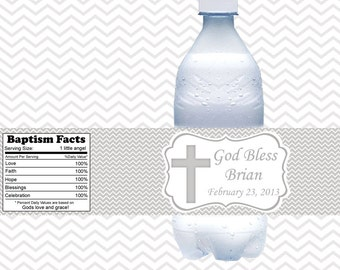 Cross Grey Baptism Christening First Holy Communion  - Personalized water bottle labels - Set of 5  Waterproof labels