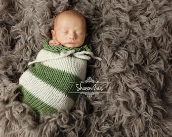 Sage Green and Cream Swaddle Sack Newborn Baby Photography Prop
