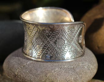 Thai Hill Tribe Silver, Large Bracelet, Silver bracelet, Boho Silver, Karen Hill Tribe,