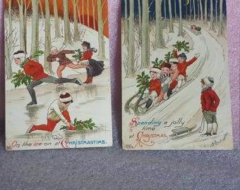 Vintage Christmas postcards, Germany,glossy