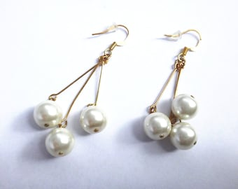 Pearl Drop Chandelier Earrings with Gold plated sterling silver hooks