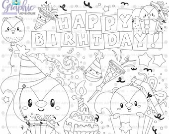Birthday Stamps, Squirrel Stamps, Happy Birthday Stamps, COMMERCIAL USE, Digi Stamp, Birthday Digistamp, Birthday Coloring Page