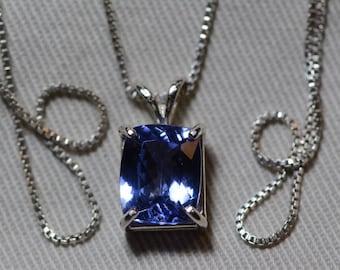 Tanzanite Necklace, Certified Tanzanite Pendant 3.56 Carats Cushion Cut, Sterling Silver, Real Genuine Natural Blue Tanzanite Jewelry