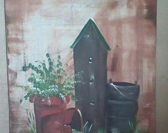 Birdhouse,clay pots, canvas painting farmhouse art acrylic, farmhouse decor