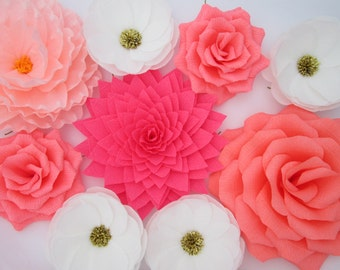 9 Paper Flowers/ Wall Flowers/ Arch Flowers/ Wedding Decoration/ Large Flowers/ Party Decoration/ Baby Shower Decorations/ Nursery Wall