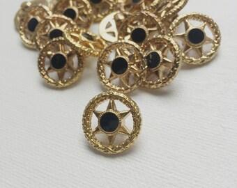Vintage Black Gold Star Sheriff Western Geometric Buttons - PA1115