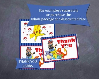 Pokemon Birthday Folded Thank You Cards - Instant Download