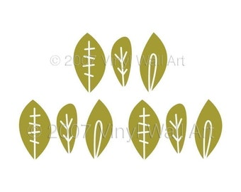 Fun Leaves Vinyl Wall Decals size SMALL (Set of 9) - Children's Decor, Bedroom Decor, Kitchen Decor, Office Decor,