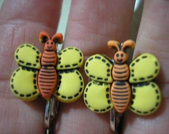 "Play Earring - Clip - Butterfly - Yellow/Orange - 3/4"""
