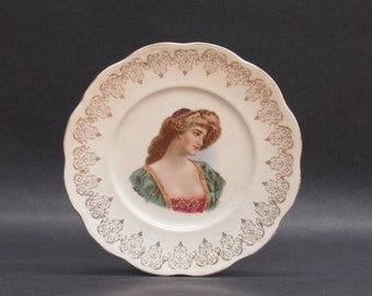 Vintage Decorative Plate with Victorian Woman Transfer (E9982)
