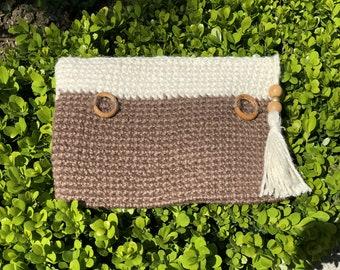 Brown Crochet Clutch, Brown Macrame Purse, Brown Chic Clutch, Summer Clutch