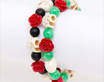 Skull Roses Bracelet - Day Of The Dead Bracelet - Dark Fashion - Horror Jewelry - Skull Bracelet - Gift For Goth - Dead Jewelry - Halloween