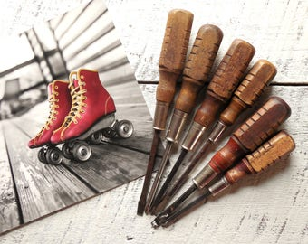 Vintage Tool Wall Collection ~ Wood Handle Screwdrivers ~ Tool Art, Tool Guy Gift For Him, Home Decor / 0687