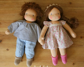 Custom dolls boy and girl - Waldorf doll - brother and sister - Dolls with blonde, brown or red hair - Rag doll - Textile doll - Twin dolls