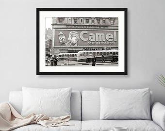New York City 44th Street, Times Square, Cigarette Ad Hotel Claridge, 1940s, City Art, Wall Art