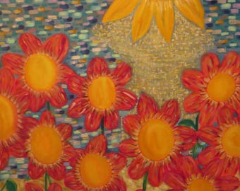 Original Arbstract Oil On Canvas Of Flowers, Light And Water