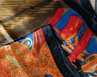 Gorgeous Modern Art Vintage Silk Scarf Bold Bright Colors Soft Lightweight 100% Pure Silk Drapes Beautifully
