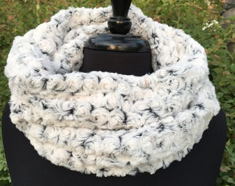 Faux Fur Cowl Scarf- Gray and Black Rosebud Circle Scarf- Fashion Snood Scarf