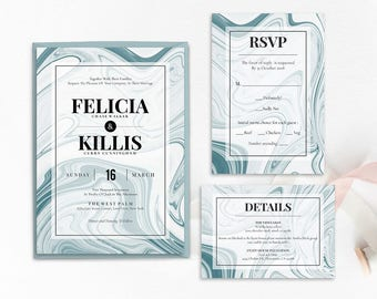 WI012 : Wedding Invitation Template, Invitation Set, Editable Wedding Invite,Vintage Wedding Invitation Printable