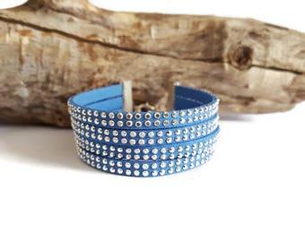 Blue Suede and rhinestone Cuff Bracelet