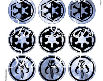 """Galactic Republic, Magnets, Pins, 1"""" Flat, Hollow Bk, Cabs, 12 ct"""