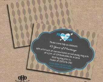 CUSTOM Party Invitations- Chalkboard & Kraft Anniversary