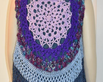 Crochet Mandala Vest, Mandala Vest, Circle Vest, Circular Vest, Lotus Vest, Crochet Circle Vest, Lotus Mandala Vest, Mandela Vest, Boho Vest