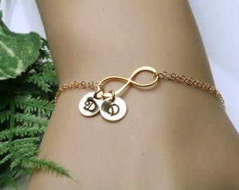 Gold Infinity initial bracelet,custom monogram bracelet,custom font,hand stamped,Couple initials,sister gift,bridesmaid gift,wedding gift