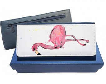 Flamingo purse, navy purse, leather purse, flamingo gift, flamingo wallet, flamingo leather purse