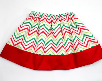 Red, Green and White Chevron Christmas Skirt, Toddler Girls Chevron Christmas Skirt