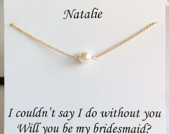 Bridesmaid gift set, Dainty Pearl Necklace, Gold Necklace,Bridal Jewelry, Bridesmaid Necklace, UK Seller