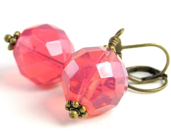 Hot Pink Earrings Glass Jewelry, Opal Dark Pink Faceted Czech Beads Lever back Ear wires Colourful Globes Sphere Ball Circle Dangle Drops