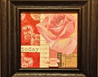 Framed Mixed Media Collage  - Everything is Coming Up Roses