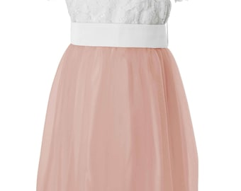 Pink Lace and Tulle Flower Girl Dress with White Lace top/ Dusky Pink tulle skirt and Sash available in all Matchimony colours