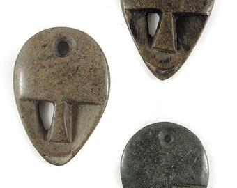 3 Shona Pendants Stone Abstract Faces Zimbabwe Africa 119438