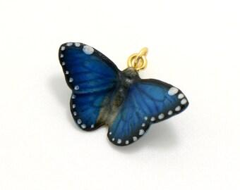 Miniature Ceramic Blue Butterfly Glass Terrarium Filler Hand Painted Porcelain Charm Terrarium Supplies Jewelry Making Supplies (AT060)