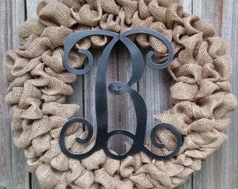 Burlap Wreath with Initial, Monogram Burlap Wreath, Black Wreath, Wreath with Monogram, Wreath for Door, Monogram Wreath, Door Wreath
