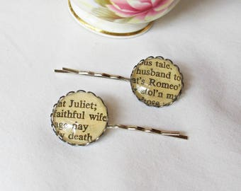 Romeo and Juliet Hair Pin Set - Shakespeare Bobby Grip Accessories - Gift For Women Barrettes