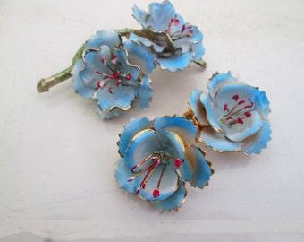 Light Blue Enamel Metal Flower Brooch Earrings Demi Parure Set