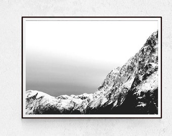 Mountain Print, Black and White Photography, Landscape Wall Art, Scandinavian Decor, Minimalist Poster, Download, Mountain Poster, Nature.