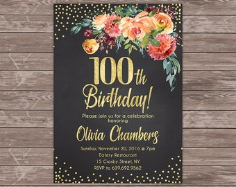Floral birthday turquoise blue 60th invite 60th birthday chalkboard birthday invite personalized 100th birthday invitation floral women birthday invitation digital filmwisefo Choice Image